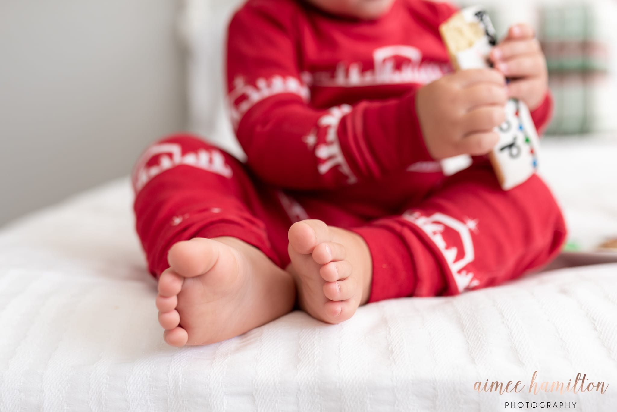 Baby toes and Christmas pjs