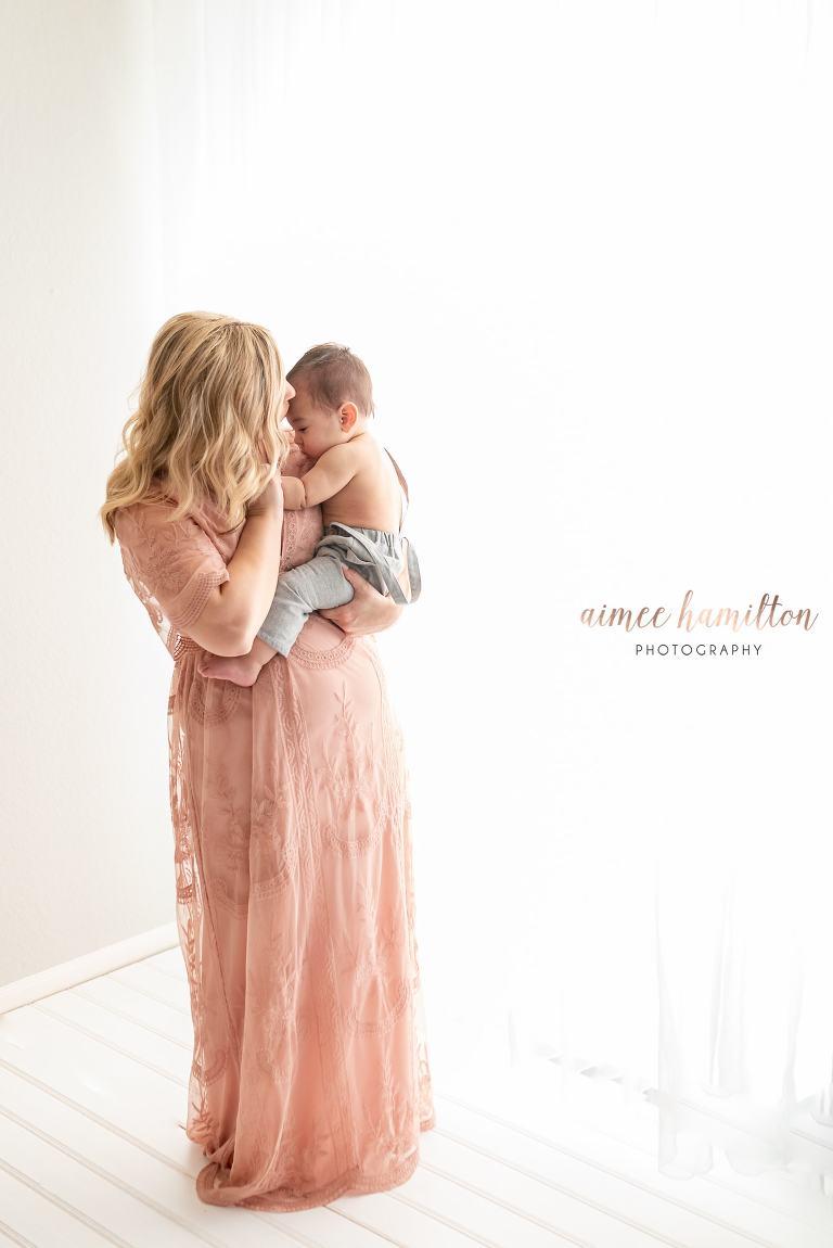 Mama and baby snuggle