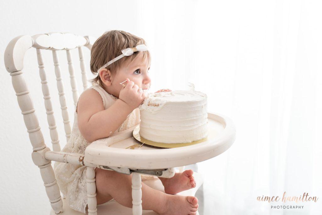 All white cake smash