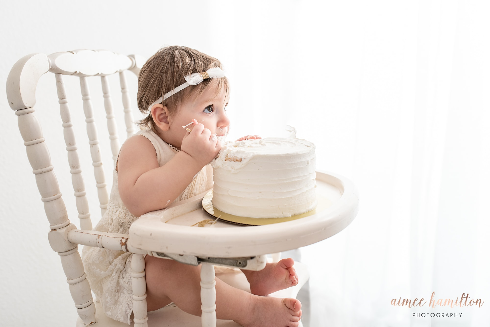 All White cake smash with a baby girl
