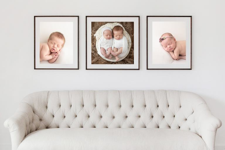 Sample of framed twin portraits on a wall