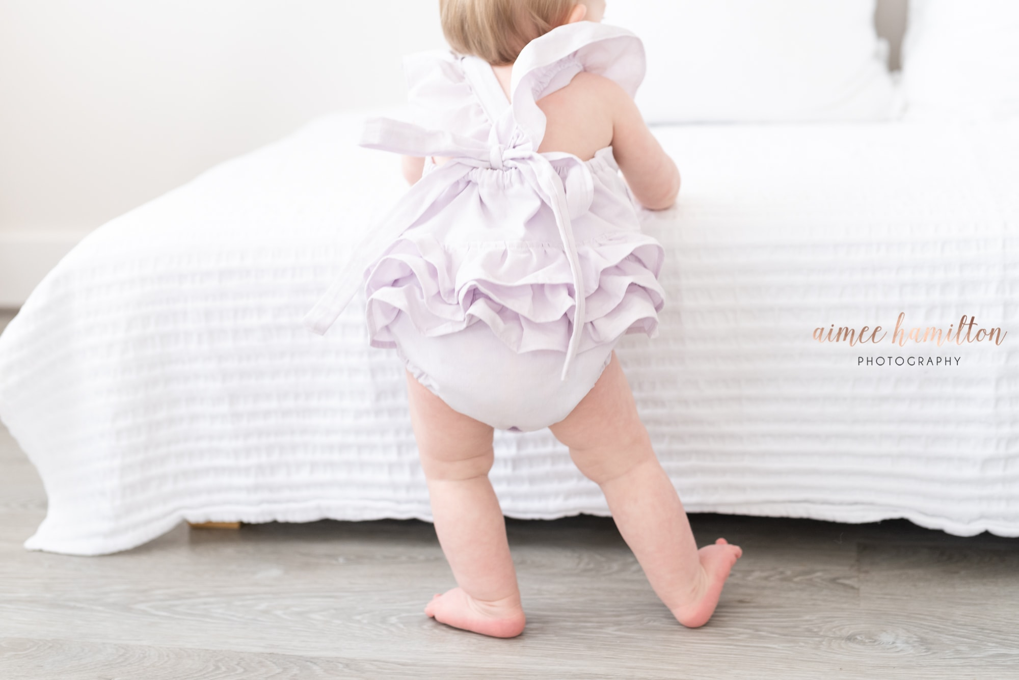 Ruffled Baby Butt in all white studio