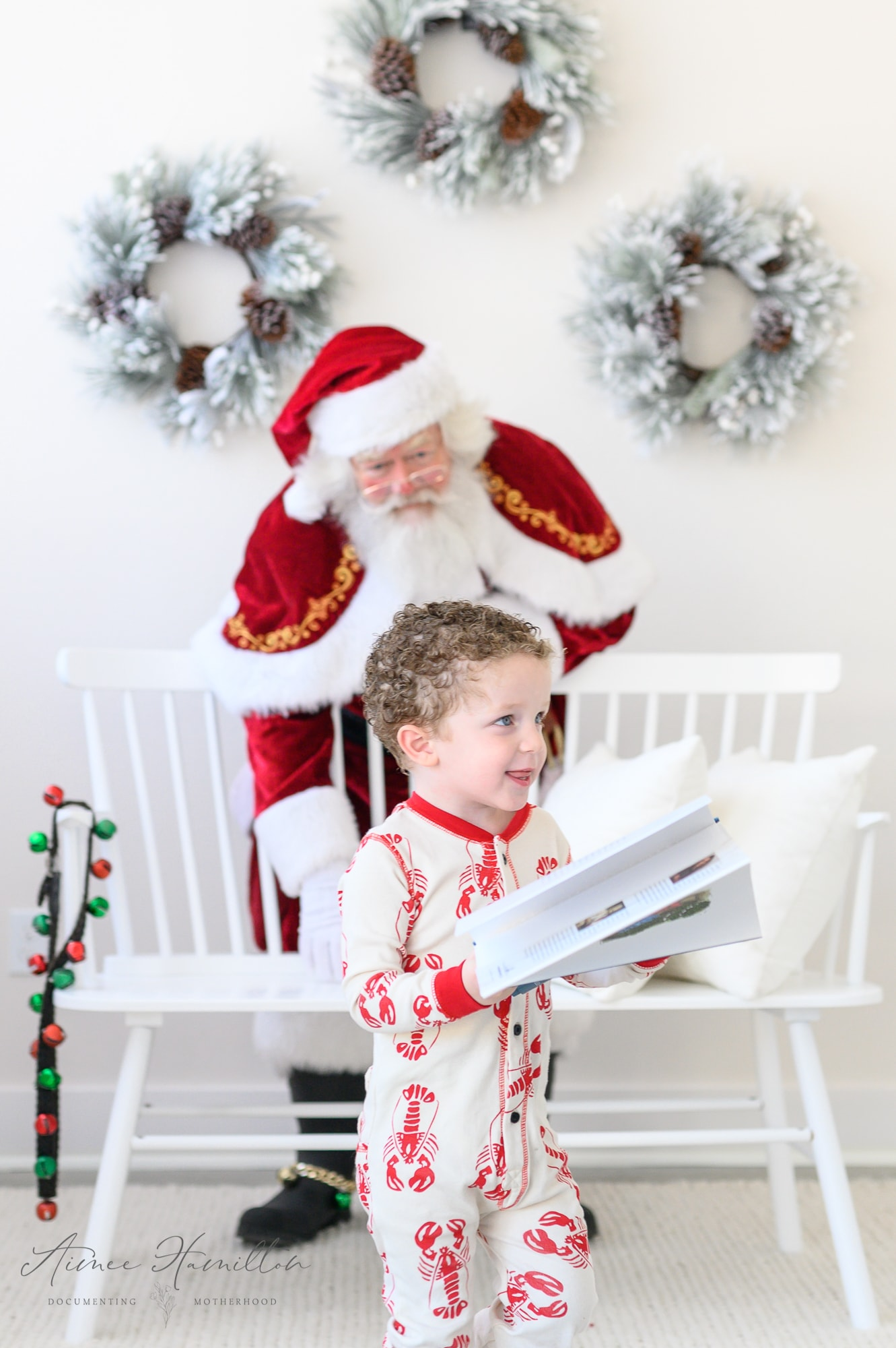 boy runs from Santa