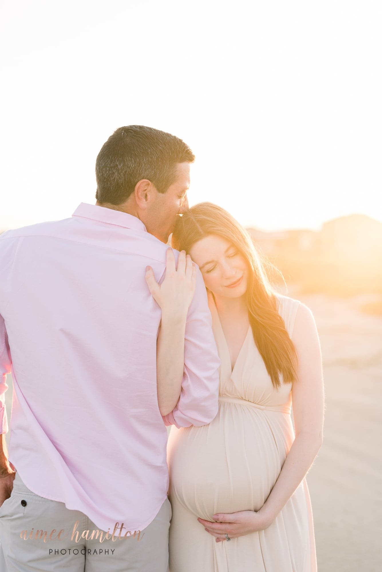 Dreamy backlit Galveston maternity session