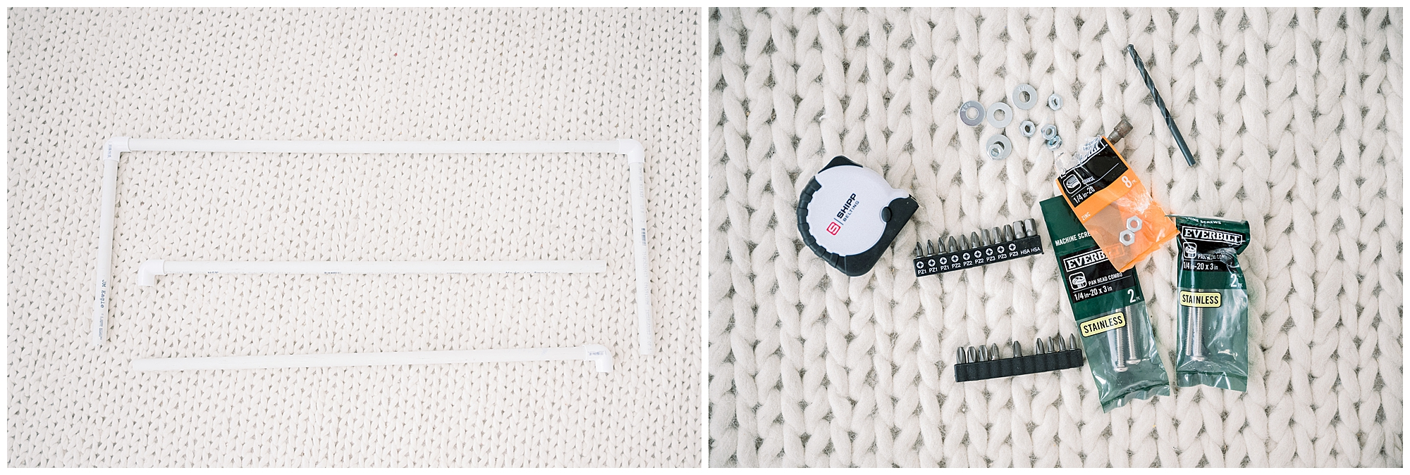 Materials for building a newborn posing table for your newborn sessions