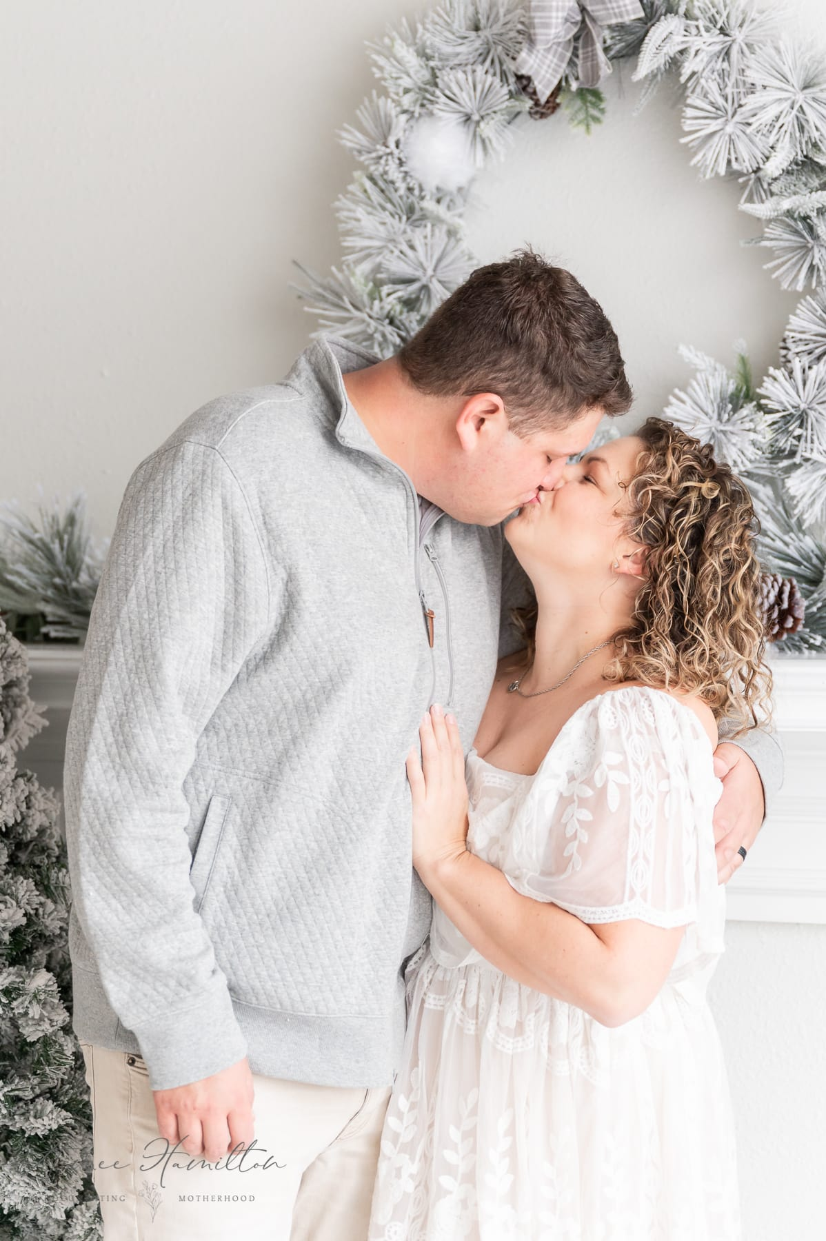 Family Pictures with white christmas decor