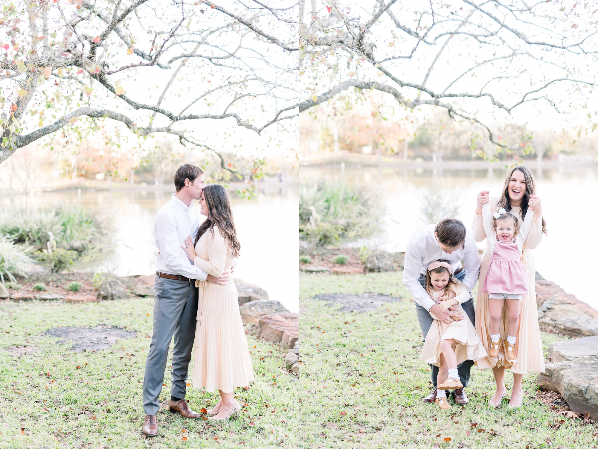 Photos of parents together and parents with two children near water at McKinney, TX park. Photos by Aimee Hamilton Photography.