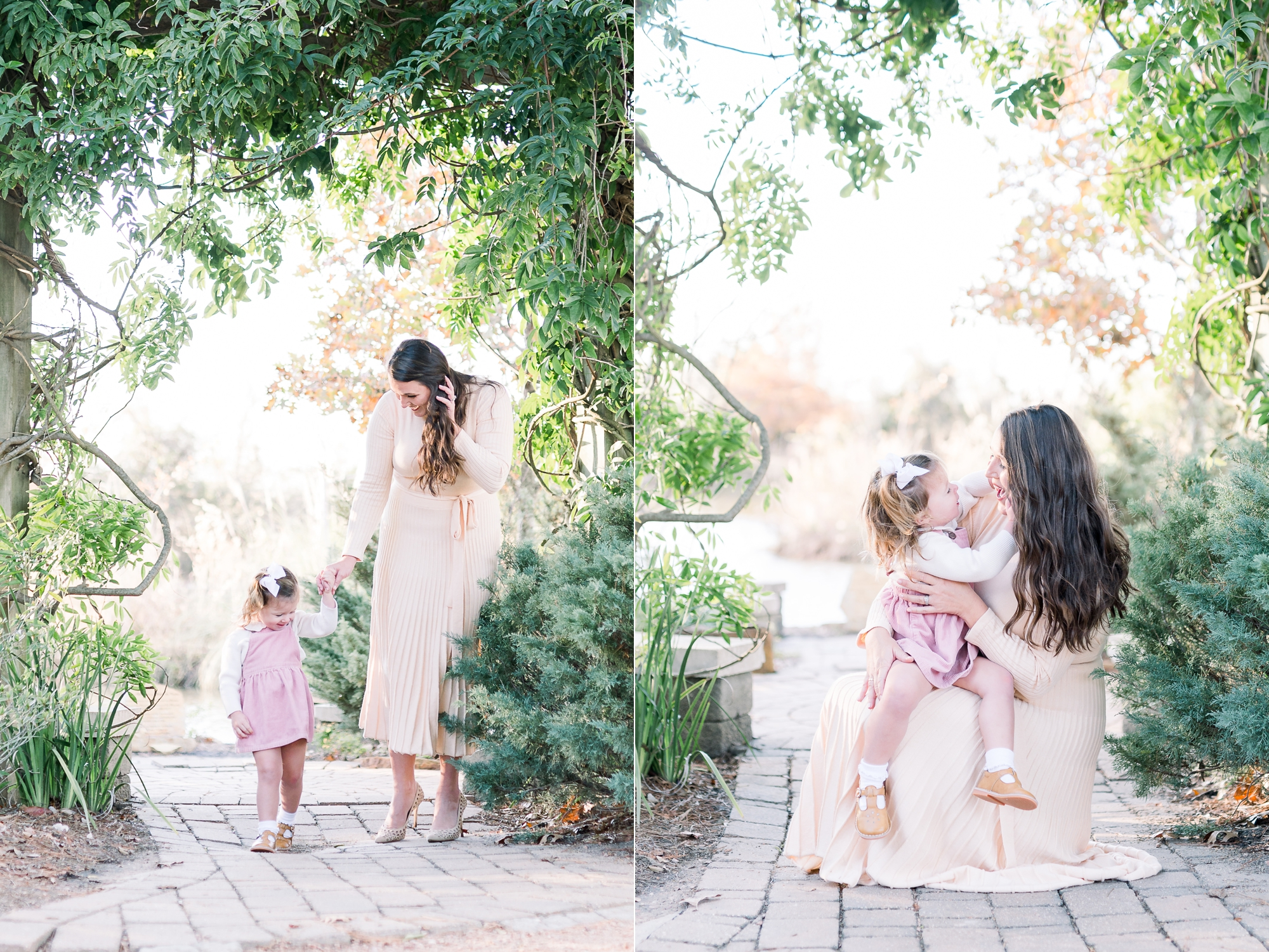 Portraits of Mom and toddler walking and cuddling in park session in McKinney, TX. Photo by Aimee Hamilton Photography.