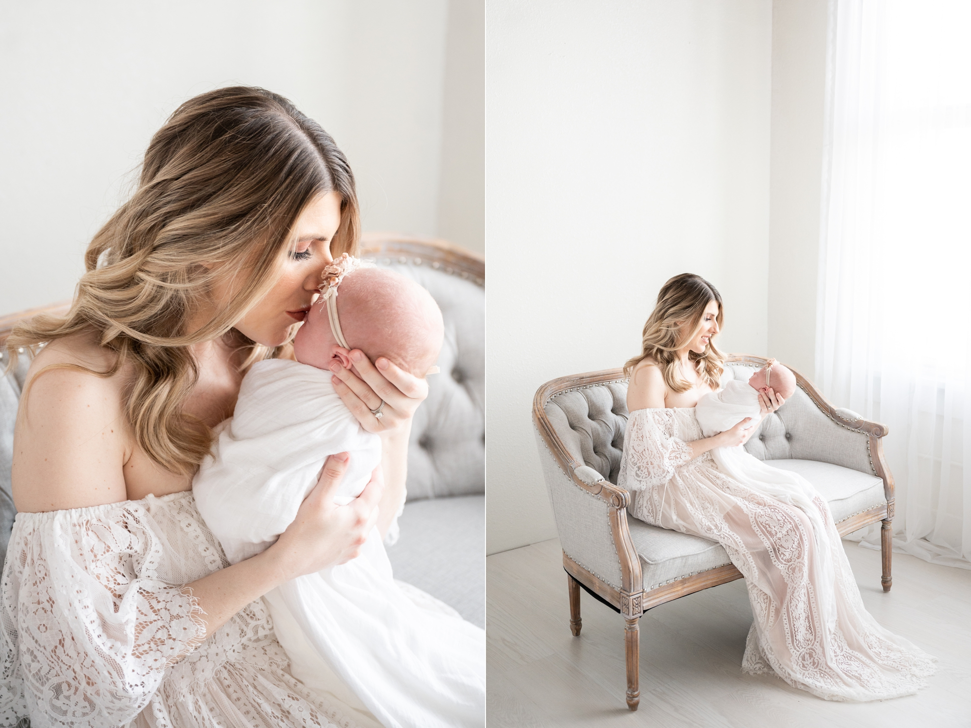 Mom kissing baby while sitting on beautiful seat in studio newborn session. Photo by Aimee Hamilton Photography.