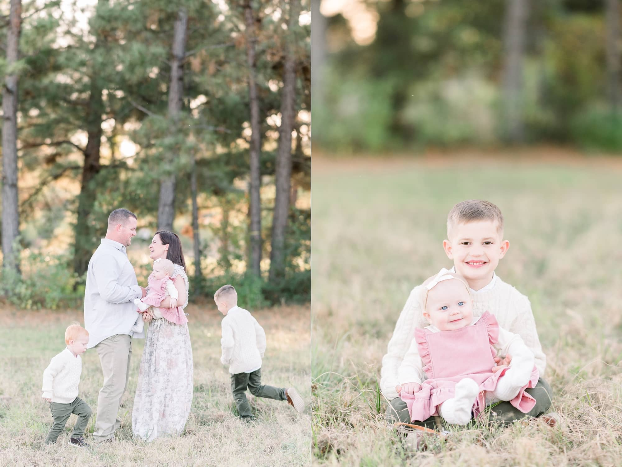 Kids running around Mom and Dad while they look at each other during family portrait session. Photos by Aimee Hamilton Photography.