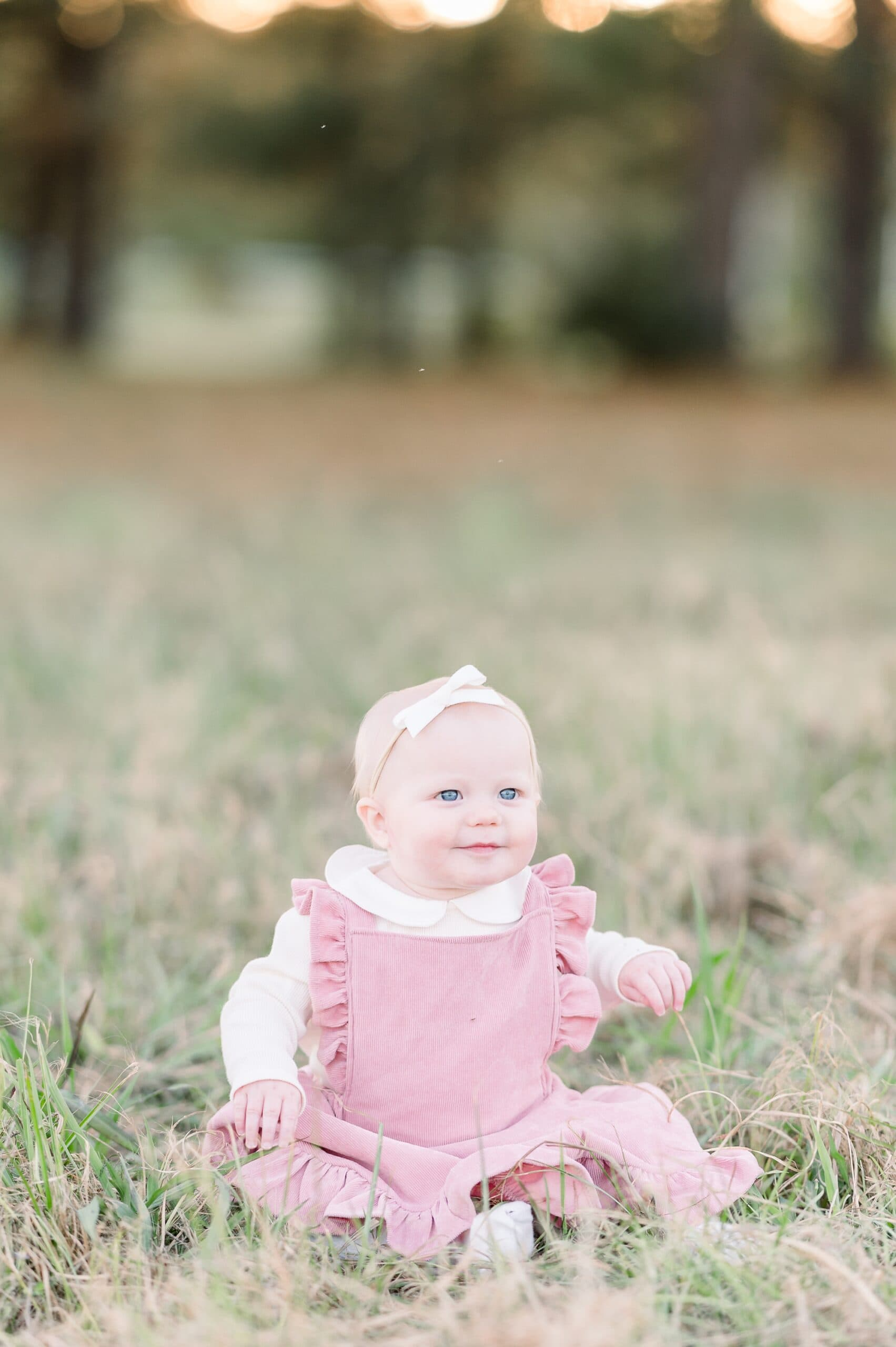 Baby girl in pink dress sitting in beautiful field. Photo by Aimee Hamilton Photography.