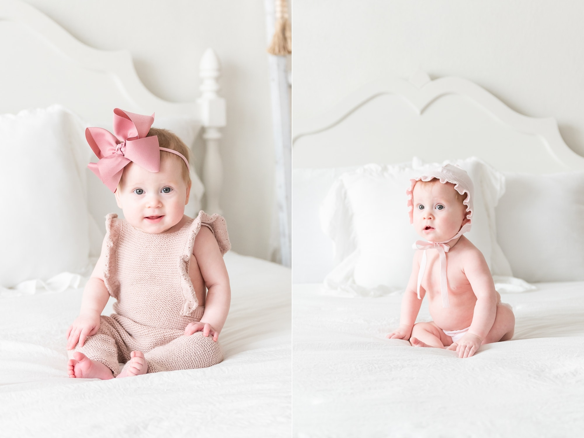 Sitter milestone session for baby girl in studio. Photo by Dallas baby photographer, Aimee Hamilton Photography