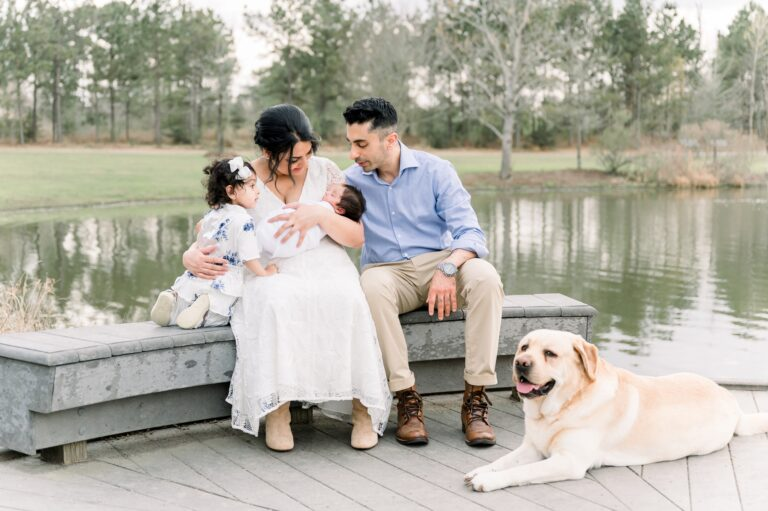 Outdoor newborn session with the whole family in Frisco by Aimee Hamilton Photography.