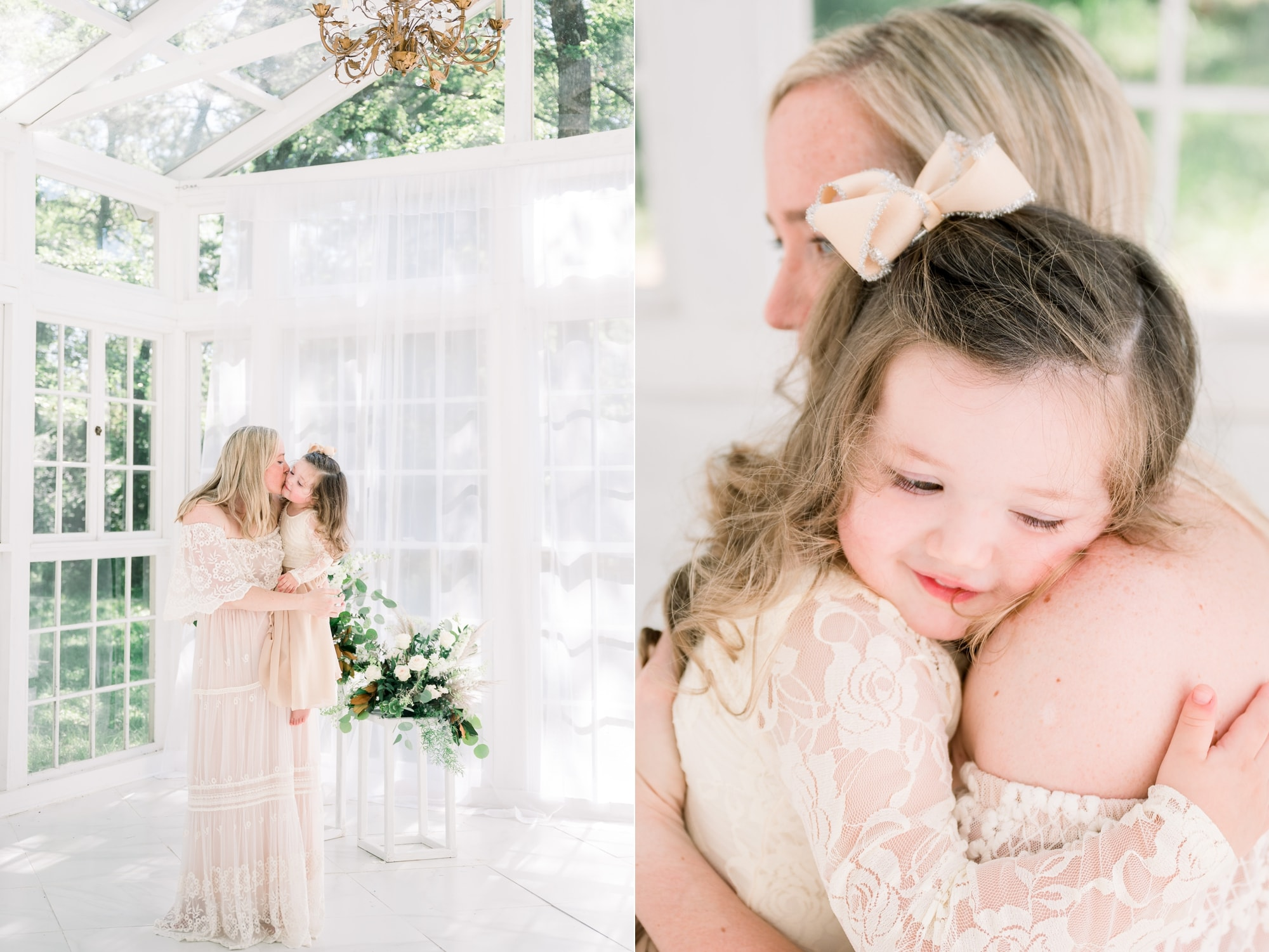 Mom and daughter hugging during motherhood session. Photos by Aimee Hamilton Photography.