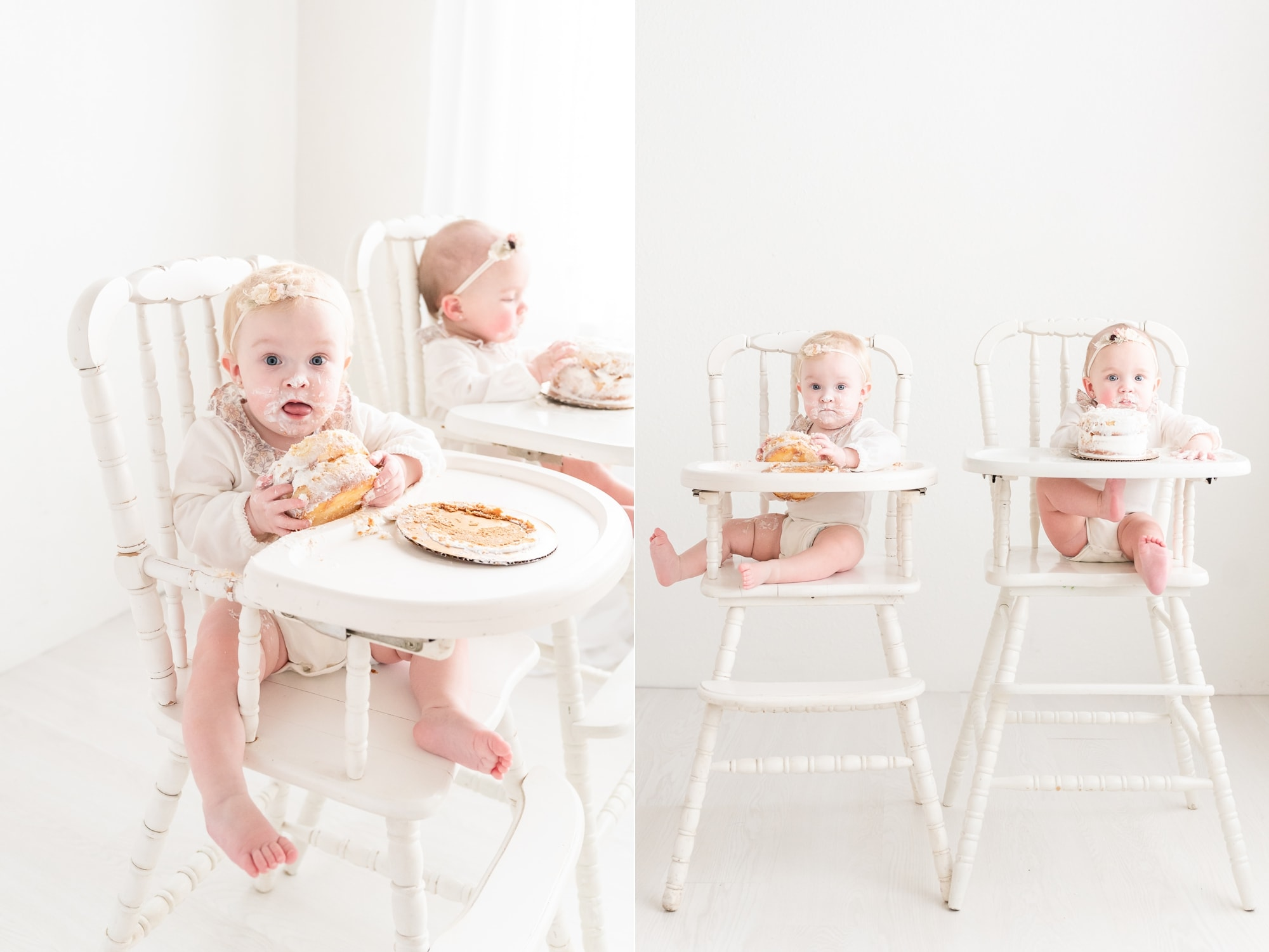 Babies eating cake during first birthday session in Dallas studio. Photos by Aimee Hamilton Photography.